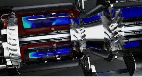 Fully-coupled Fluid Dynamics Engine Simulation of a Gas Turbine