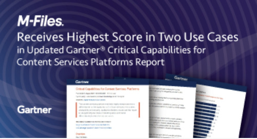 Gartner scores M-Files highest in two use cases in updated Critical Capabilities for CSPs report
