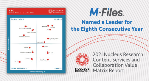 M-Files earns highest recognition as Leader in 2021 Nucleus Research Content Services and Collaboration Value Matrix