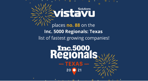 VistaVu Solutions Ranks No. 88 on the Inc. 5000 Regionals: Texas List of the Fastest-Growing Private Companies
