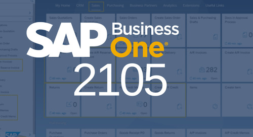 SAP Business One Release | 10.0 Feature Pack 2105 Highlights