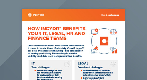 How Code42 Incydr™ Benefits Your IT, Legal, HR and Finance Teams
