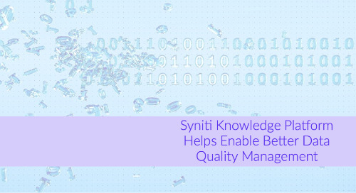 Syniti Knowledge Platform Helps Enable Better Data Quality Management