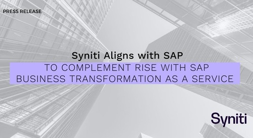 Syniti Aligns with SAP to Complement RISE with SAP Business Transformation as a Service
