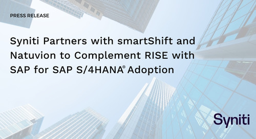 Syniti Partners with smartShift and Natuvion to Complement RISE with SAP for SAP S/4HANA® Adoption