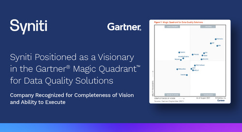 Syniti positioned as a Visionary in the Gartner® Magic Quadrant™  for Data Quality Solutions