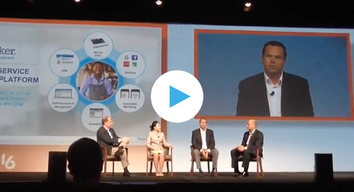 Booker CEO Josh McCarter on stage at Transact 16 to announce partnership with First Data