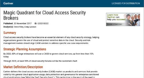 Gartner Magic Quadrant for Cloud Access Security Brokers