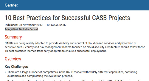 Gartner Report: 10 Best Practices for Successful CASB Projects
