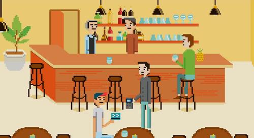 Ces animations 8 bits illustrent la simplicité du paiement mobile de Moneris