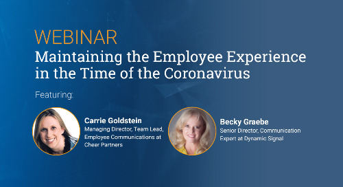Maintaining The Employee Experience In The Time Of The Coronavirus (Webinar Recording)