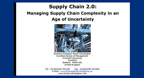 "inSIGHT2013 Dr. Martin Christopher ""Managing Supply Chain Complexity in an Age of Uncertainty"""