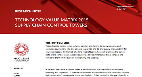 Technology Value Matrix 2015: Supply Chain Control Towers