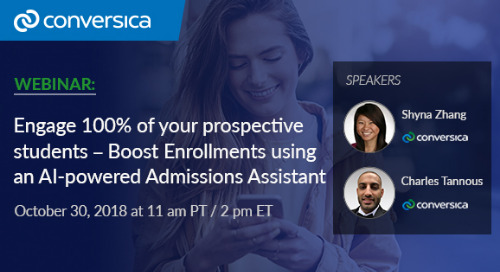 October 30 at 11 am PT: Webinar - Engage 100% of Your Prospective Students - Boost Enrollments Using an AI-Powered Admissions Assistant
