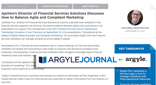 Aprimo's Director of Financial Services Solutions Discusses How to Balance Agile and Compliant Marketing