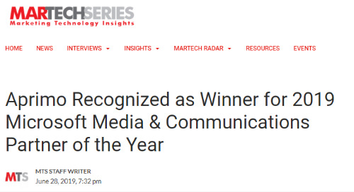 Aprimo Recognized as Winner for 2019 Microsoft Media & Communications Partner of the Year {MarTech Series]