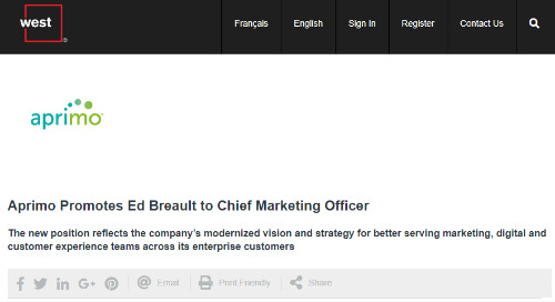 Aprimo Promotes Ed Breault to Chief Marketing Officer [Globe News Wire]