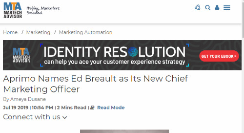 Aprimo Names Ed Breault as Its New Chief Marketing Officer [MarTech Advisor]