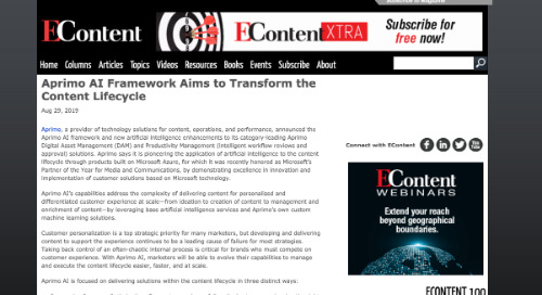 Aprimo AI Framework Aims to Transform the Content Lifecycle [EContent]