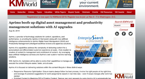 Aprimo beefs up digital asset management and productivity management solutions with AI upgrades [KMWorld]