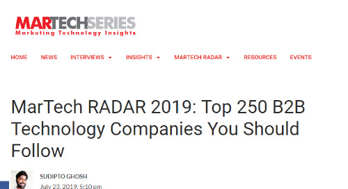Aprimo Named in Top 250 B2B Technology Companies You Should Follow [MarTech RADAR 2019]