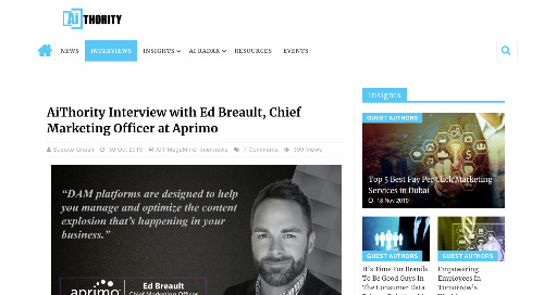 AiThority Interview with Ed Breault, Chief Marketing Officer at Aprimo [AIThority]