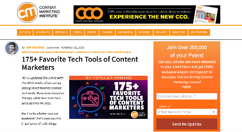 175+ Favorite Tech Tools of Content Marketers [CMI]