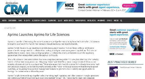 Aprimo Launches Aprimo for Life Sciences [Destination CRM]