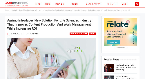 Aprimo Introduces New Solution For Life Sciences Industry That Improves Content Production And Work Management While Increasing ROI [MTS]