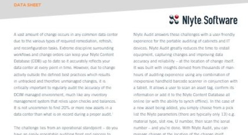 Nlyte Audit Data Sheet