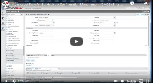 Nlyte Asset Sync for ServiceNow Configuration Management (CMDB) Short Demo