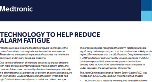 White Paper: Technology to Help Reduce Alarm Fatigue
