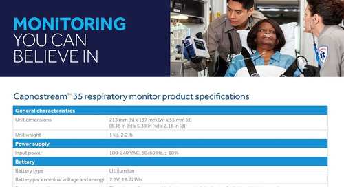 Capnostream™ 35 Respiratory Monitor Product Specifications for EMS