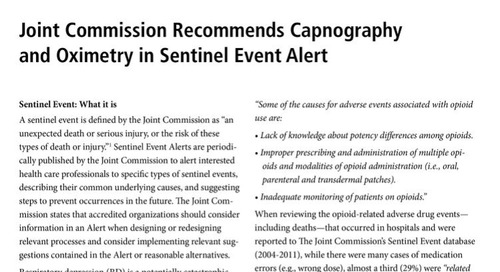 Joint Commission Recommends Capnography and Oximetry in Sentinel Event Alert