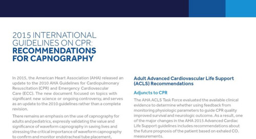 2015 International Guidelines on CPR: Recommendations for Capnography