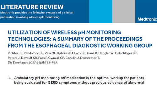 Literature Review: Using Wireless pH Monitoring Technologies