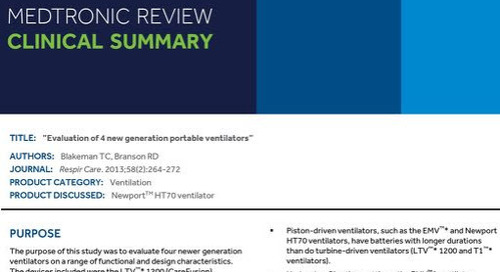 Clinical Quick Guide: Evaluation of 4 New Generation Portable Ventilators