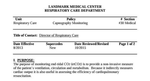 Landmark Medical Center Capnography Use Protocol