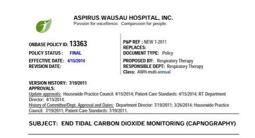 Aspirus Wausau Capnography Use Protocol