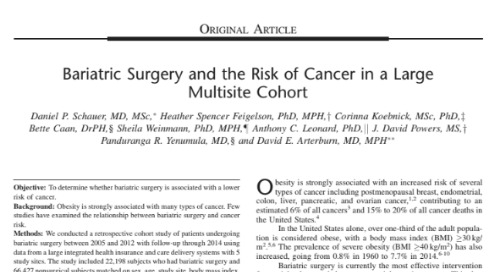 Bariatric Surgery and the Risk of Cancer in a Large Multisite Cohort