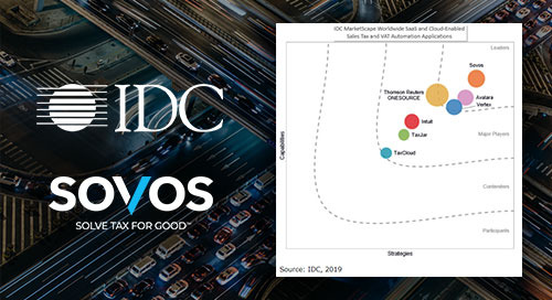 "Sovos es reconocido como el líder del mercado en el reporte ""IDC MarketScape: Worldwide SaaS and Cloud-Enabled Sales Tax and VAT Automation"