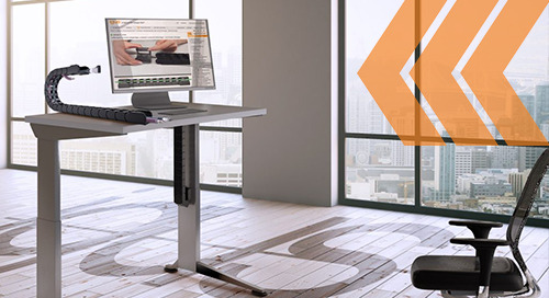 Desk cable chaos? Work either standing or seated with cable management for adjustable desks