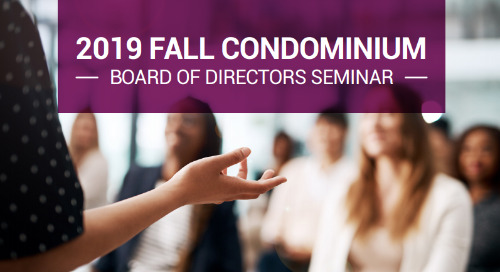 2019 Fall Condo Board of Directors Seminar