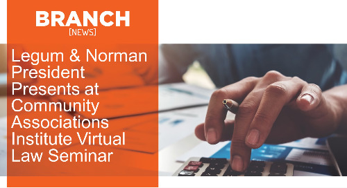 Legum & Norman President Presents at Community Associations Institute Virtual Law  Seminar