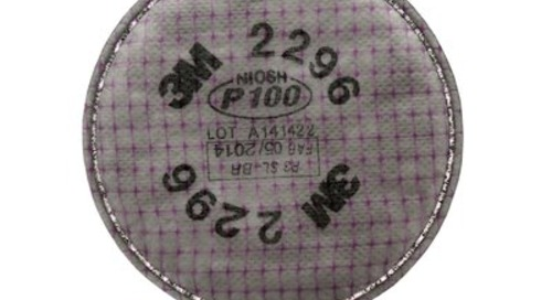 Filtre de pointe P100 2296 3M(MC) contre les particules, avec protection contre les concentrations nuisibles de gaz acides.