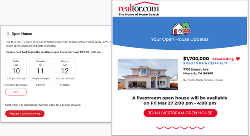 Livestream open houses now featured on realtor.com® listing pages