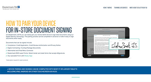 Step by Step Page: Device Pairing for In-Store Document Signing