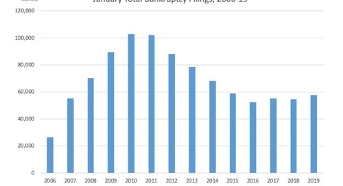 January Total Bankruptcy Filings, 2006-19