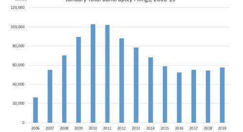 January Total Bankruptcy Filings, 2006-19