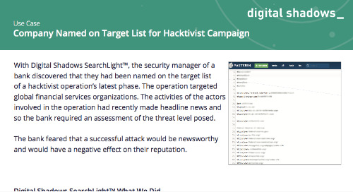Company Named on Target List for Hacktivist Campaign